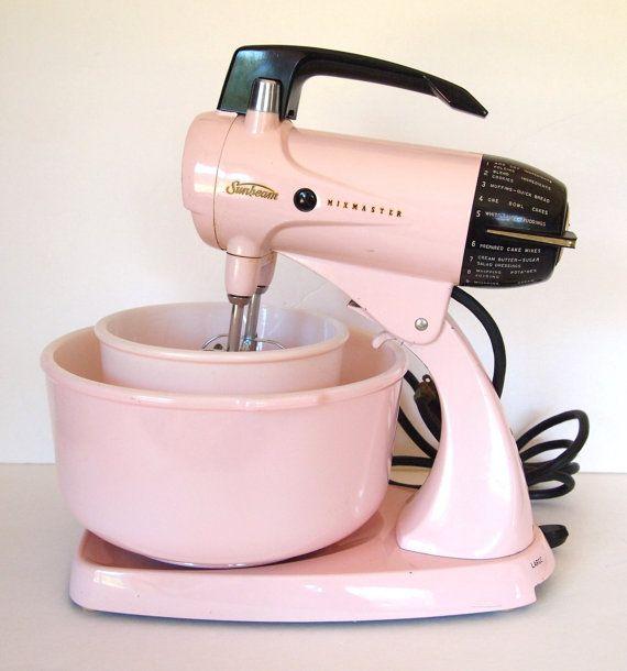 Dark Pink Kitchen Accessories: Vintage Pink Sunbeam Mixmaster Electric Stand Mixer & 2 Original Bowls And Beaters 12 Speed