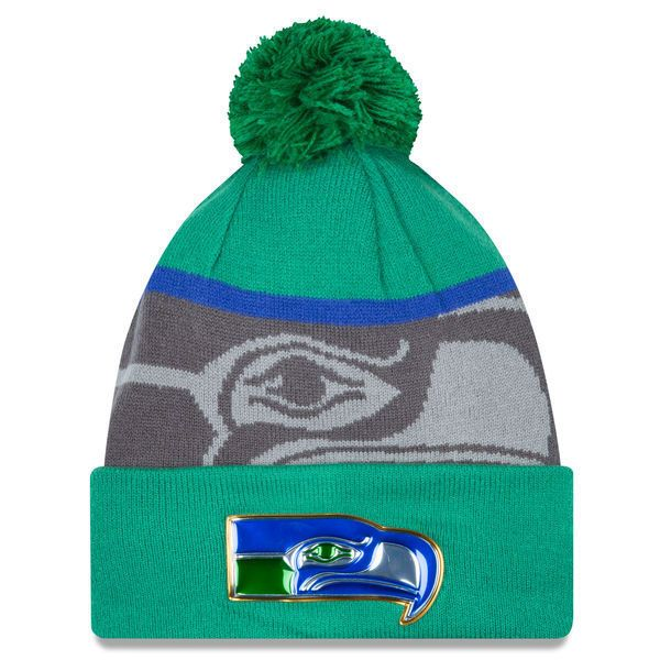 e291d9fe9a3 Seattle Seahawks New Era Gold Collection Vintage Cuffed Pom Knit Beanie Hat