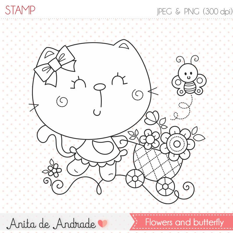 Cat Flowers And Butterfly Stamp