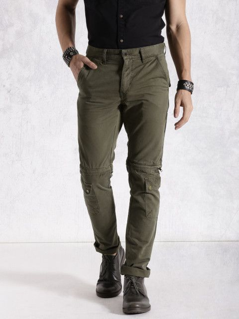 7d751a3ae7c8b Buy RDSTR Olive Green Slim Fit Convertible Cargo Trousers - Trousers for  Men…