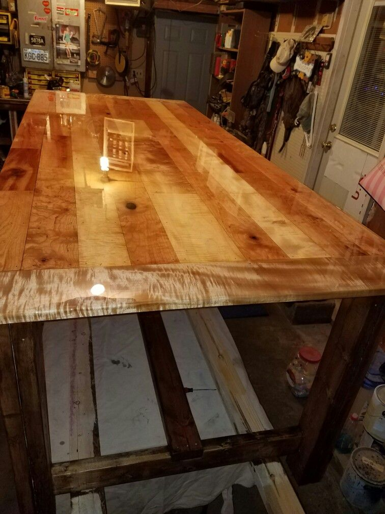 Curly Maple And Cherry Top Dining Table Maple Kitchen Rustic