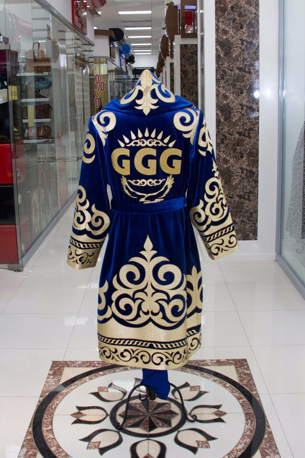 58ffeffb5fa0 GGG GOLOVKIN Gennady ORIGINAL boxing robe Blue velvet with gold embroidery