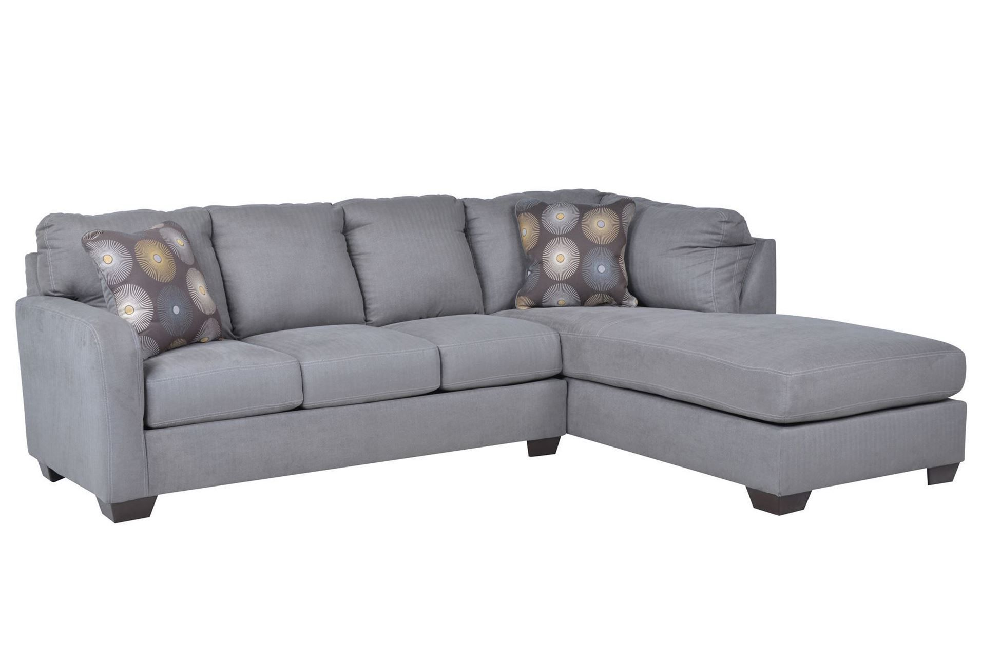 Zella Charcoal 2 Piece Sectional W Raf Chaise Sectional