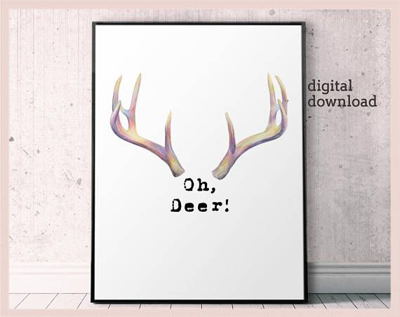 picture regarding Printable Deer Antlers known as Oh Deer print deer antler poster, oh deer printable antlers
