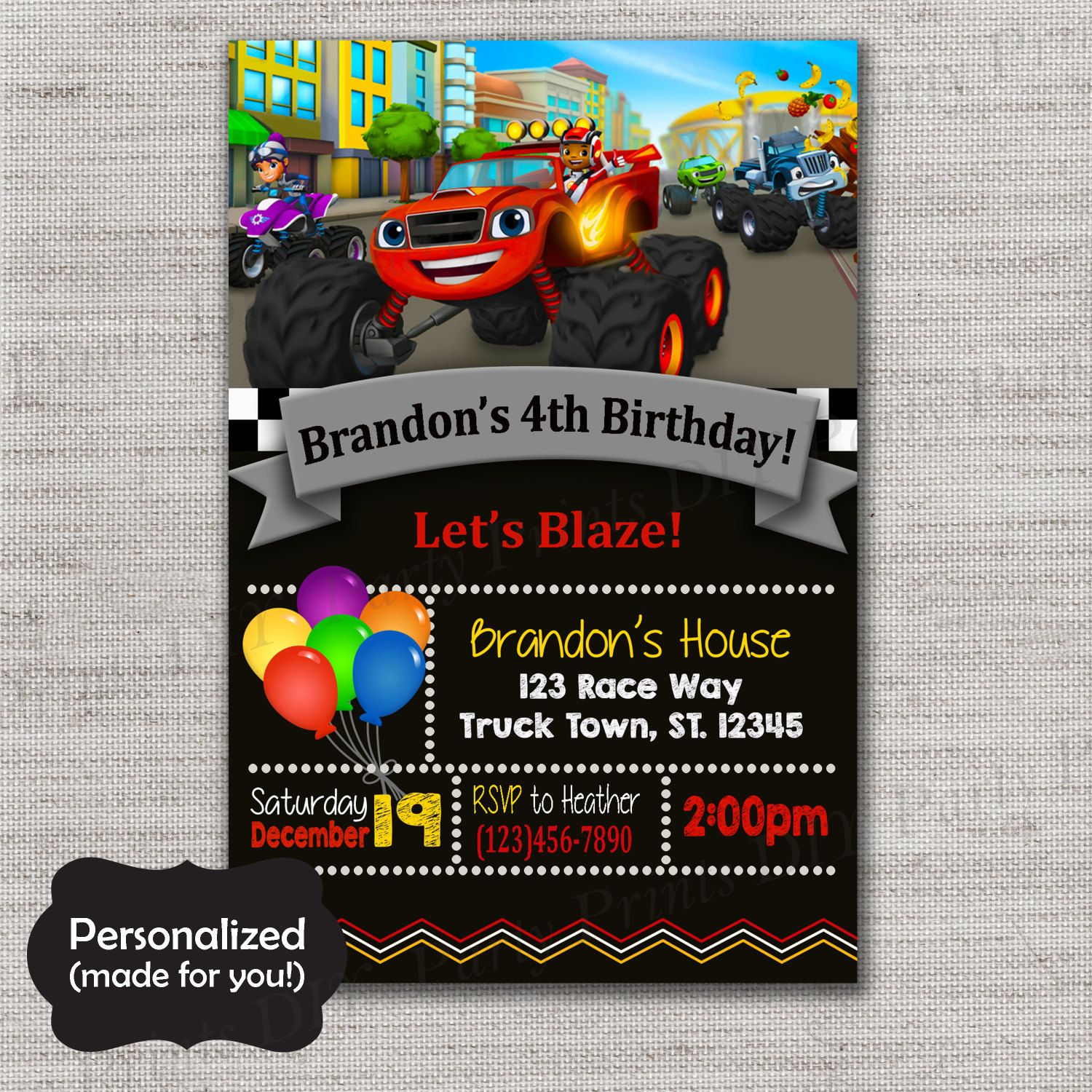 Blaze And The Monster Machines Birthday Invite,Blaze