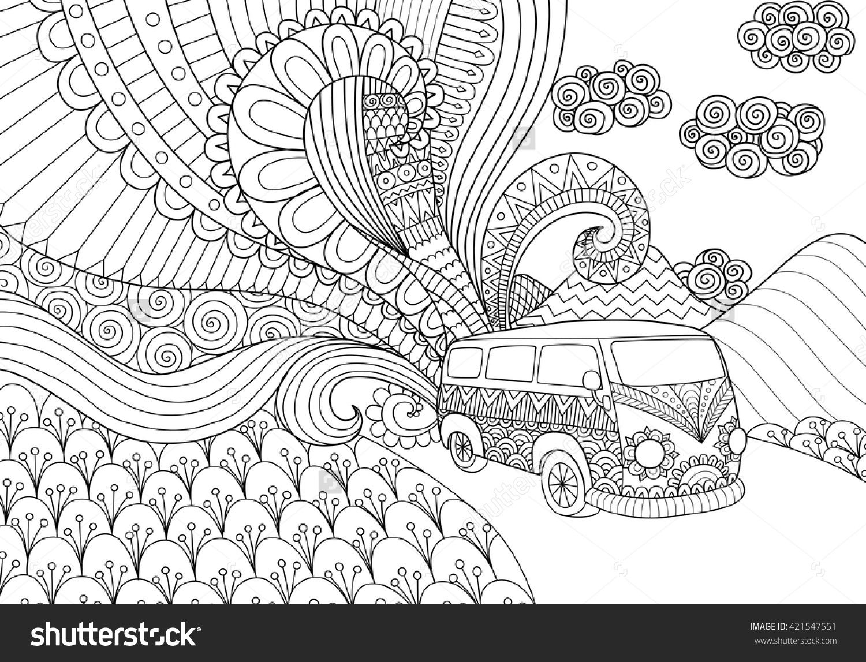 Van Line Art Design For Coloring Book Adult