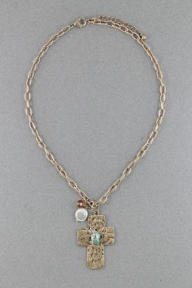 Gold Stone Cross Necklace #necklace #jewellery amusemeboutique.com