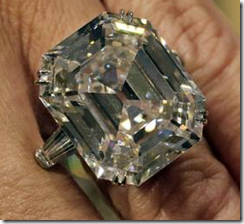 Elizabeth Taylor's famous diamond ring, auctioned off at Christie's.
