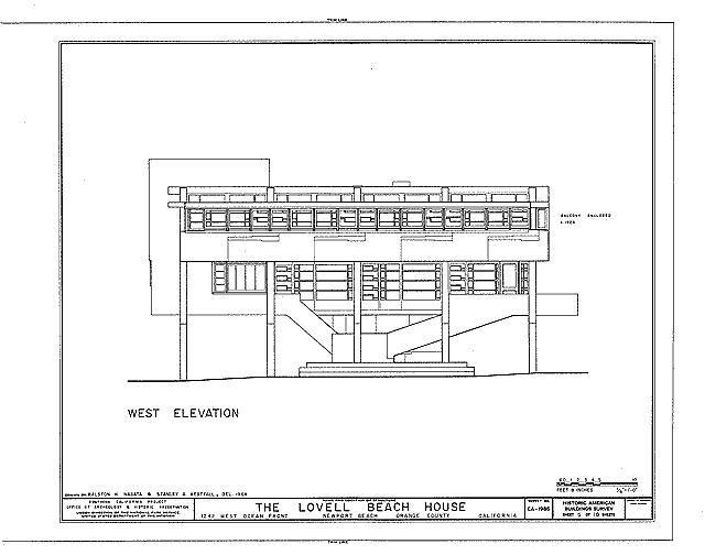 rudolph m. schindler, lovell beach house, 1926, west elevation