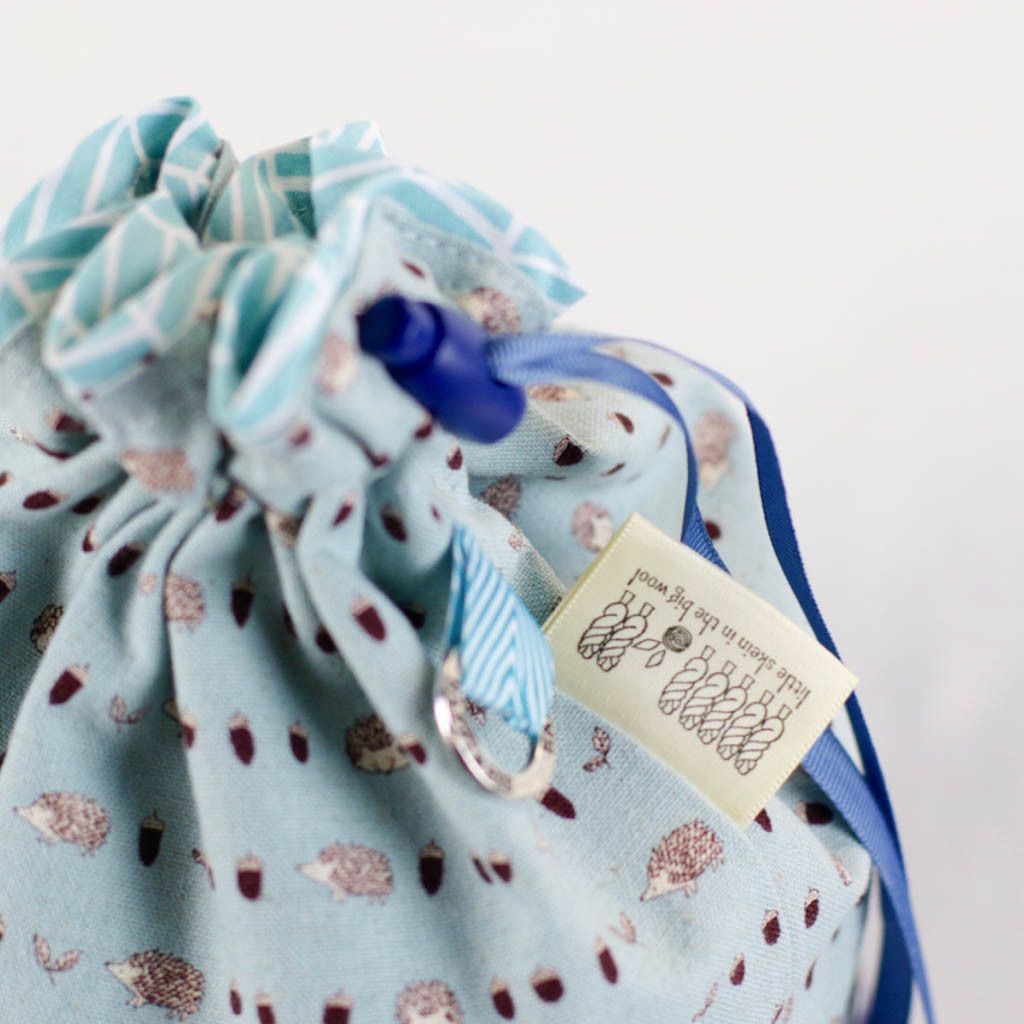 Wee Blue Hedgie drawstring project bag