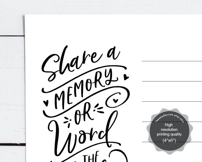 Share a Memory Card, Instant download printable PDF