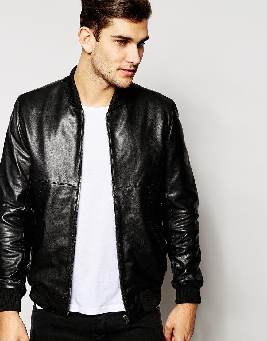 Classic Leather Bomber Jacket - Pl Jackets