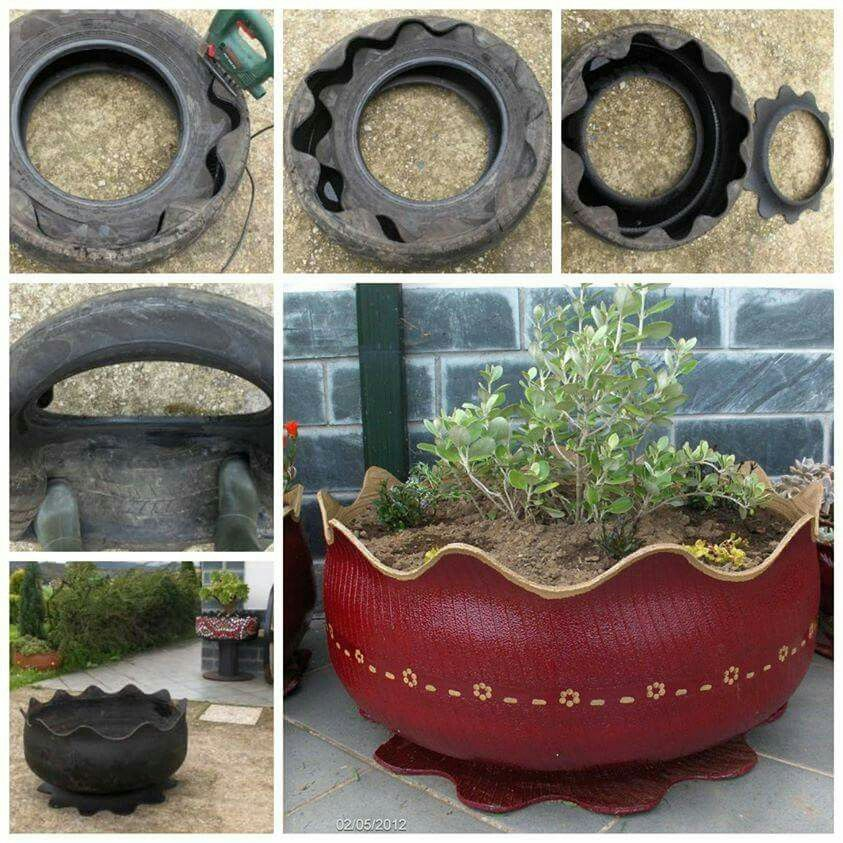 Old Tires Recycled Flower Pot Design Diy Garden Decor Flower Pots