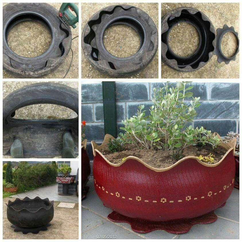 Old Tires Recycled Diy Garden Decor Flower Pots Flower Pot Design