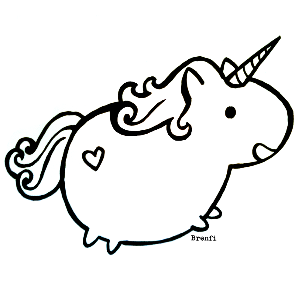 Chubby Unicorn Coloring Pages