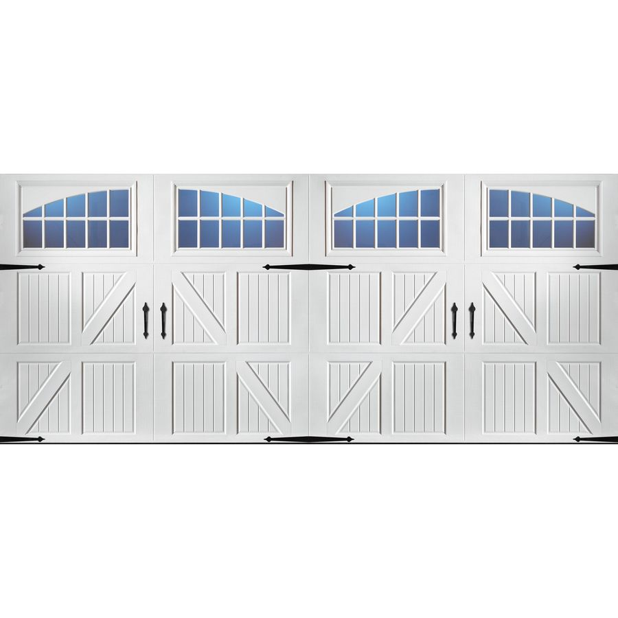 Pella Carriage House 192 In X 84 In White Double Garage Door With Windows 123538 In 2020 Garage Door Styles Double Garage Door Garage Door Design