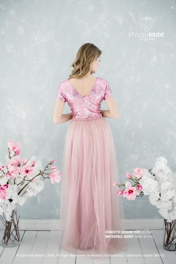 e7c2367d04 Jersey Crop Top Dress Pink Blush Plum Rose Waterfall Tulle Skirts for  Bridesmaids, Simple Engagement Skirt in Blushes in 2019 | Wedding♥ |  Bridesmaid ...