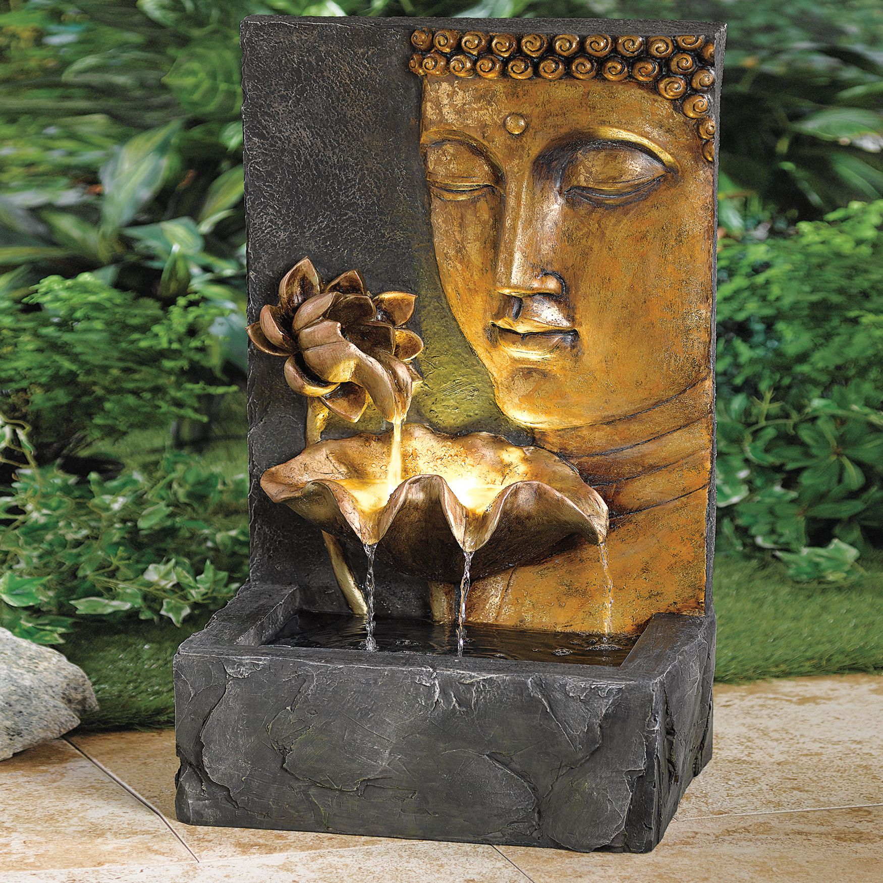 Hand Painted Buddha Face Fountain Buddha Garden Indoor Water Fountains Fountains Outdoor
