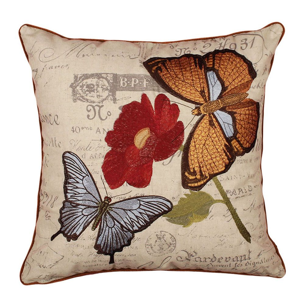 Embroidered Throw Pillow Vintage Butterfly