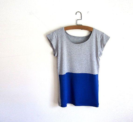 Royal Blue and Grey Color Block Tee Shirt / Women's Tshirt / Tank / Custom Made to Order