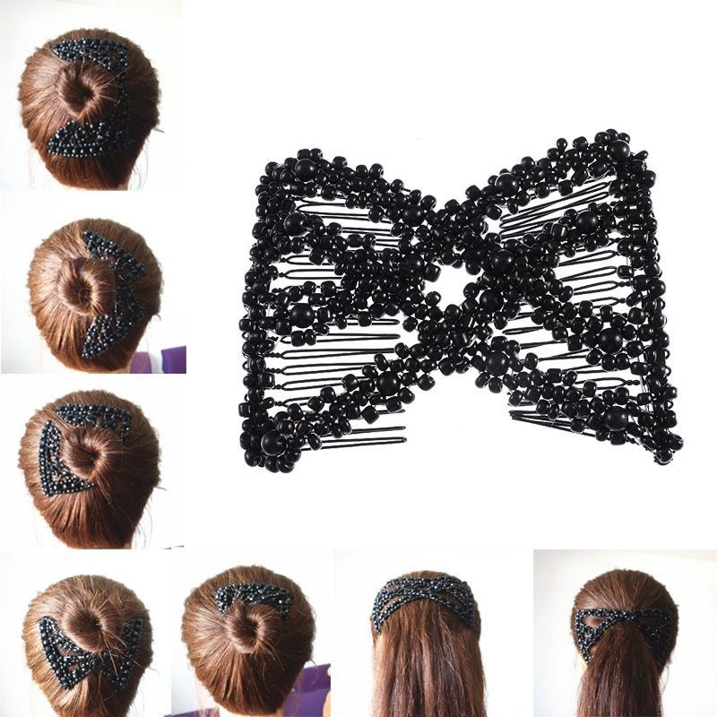 Magic Hair Comb EZ Beaded Double Stretchy Elastic Jewelry Women Clips Hairstyle