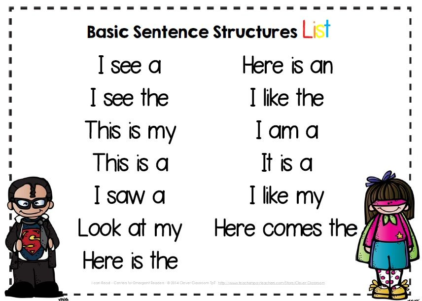 Free Basic Sentence Starters For Pre K And Kindergarten Emergent Readers And Writers Free Center I Kindergarten Writing Kindergarten Reading Teaching Writing 1st grade sentence starters