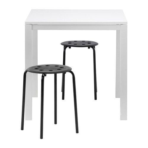 Table Et 2 Tabourets Melltorp Marius Blanc Noir Salon L A