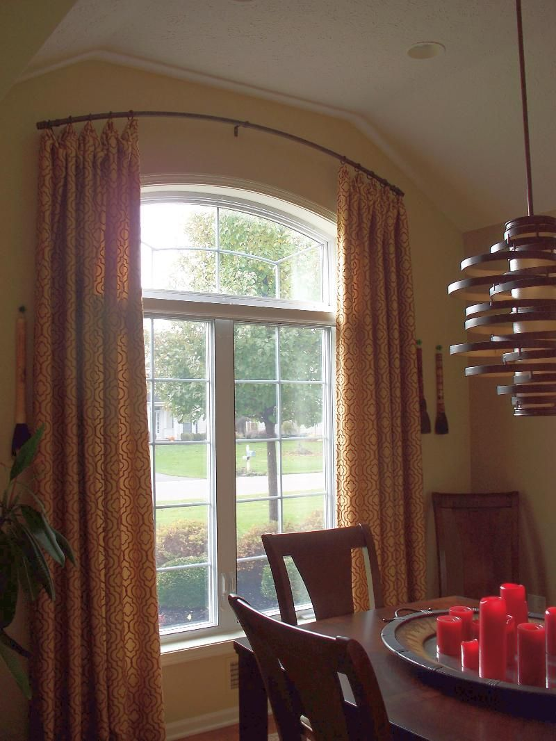 Eyebrow window coverings  curved rod u sticky rings  window drapes and blinds  pinterest