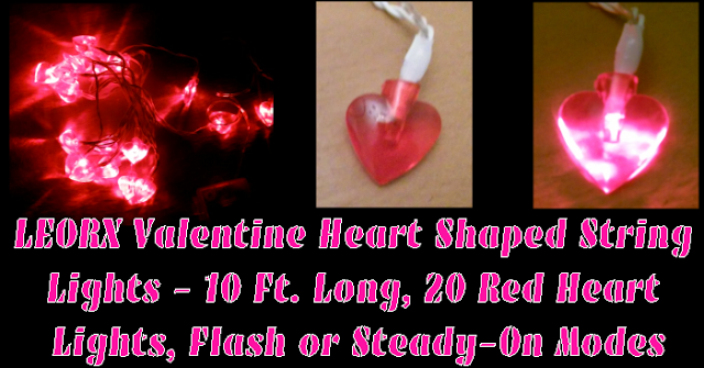 leorx valentine heart shaped string lights 10 ft long 20 red heart lights flash - Valentine String Lights