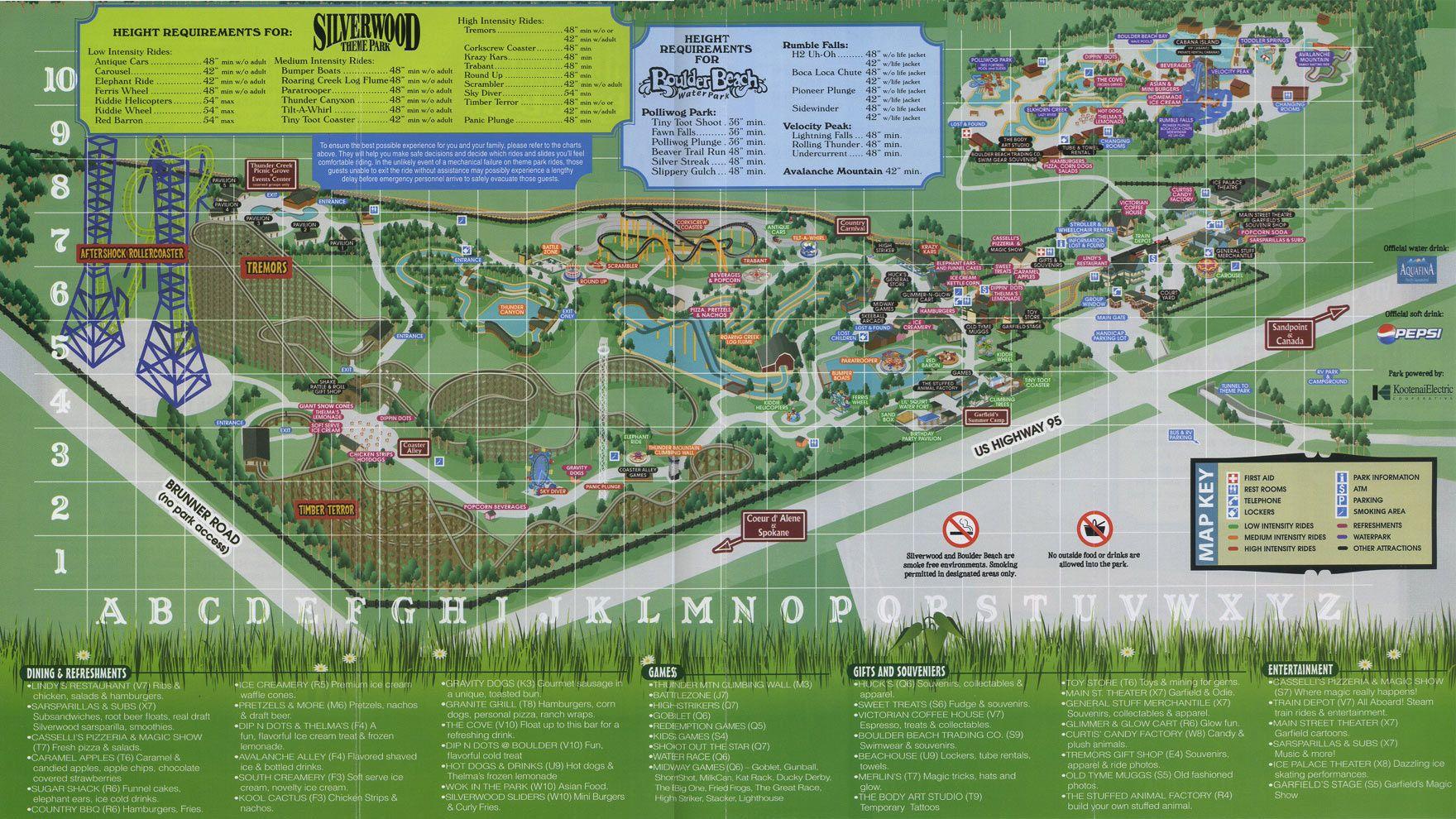 Silverwood 2009 Map Theme Park Map Theme Park Park