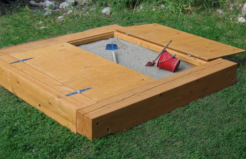 covered sandboxes not sure cover would work but not as heavy as a full sheet of - Sandbox Design Ideas