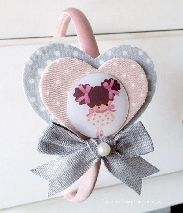 diadema corazones forrados en tela con ilustracin mueca caramel sweet doll precio unidad eur - Diademas De Tela