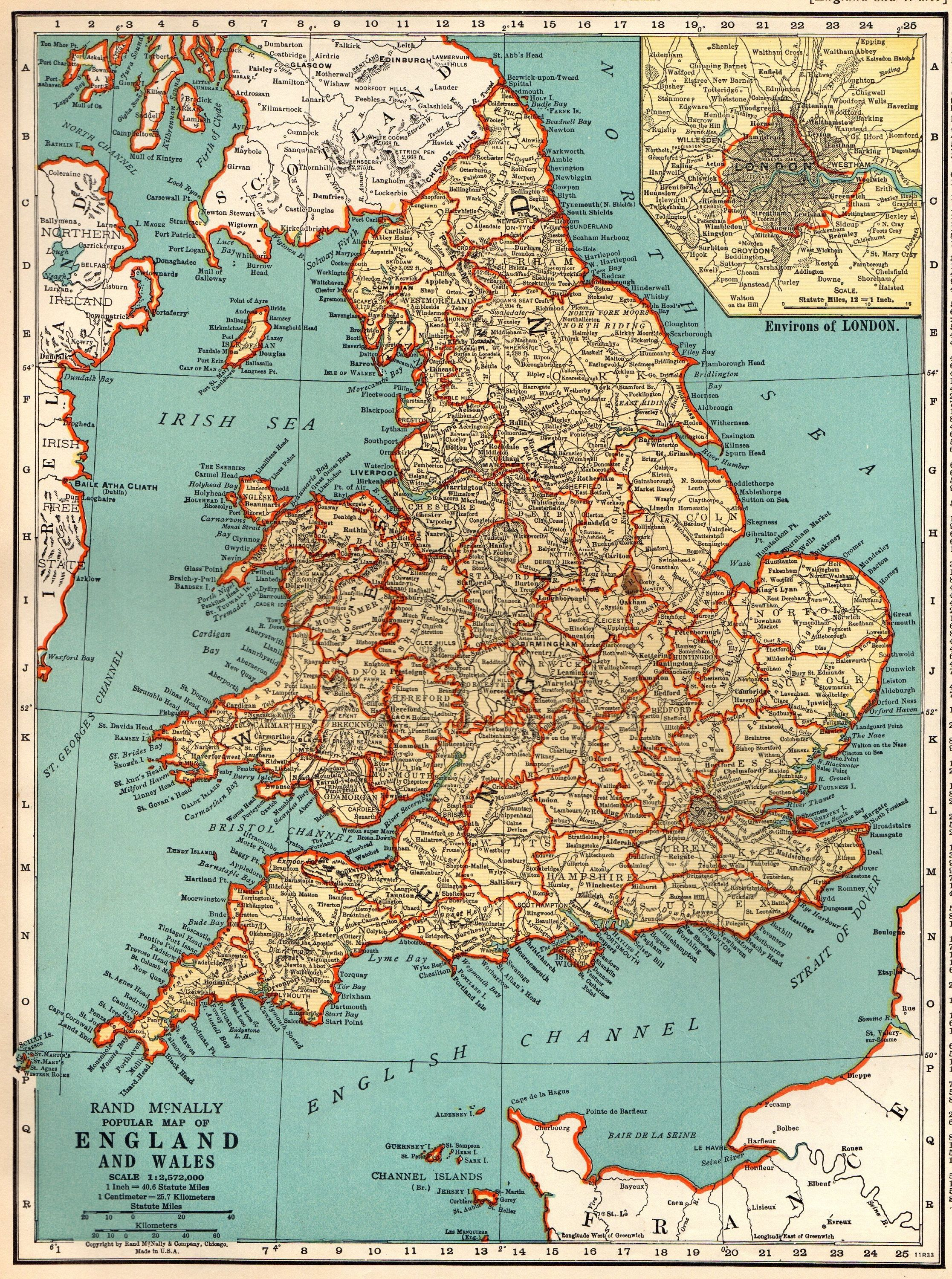 1938 Antique England And Wales Map Vintage Map Of England Gallery
