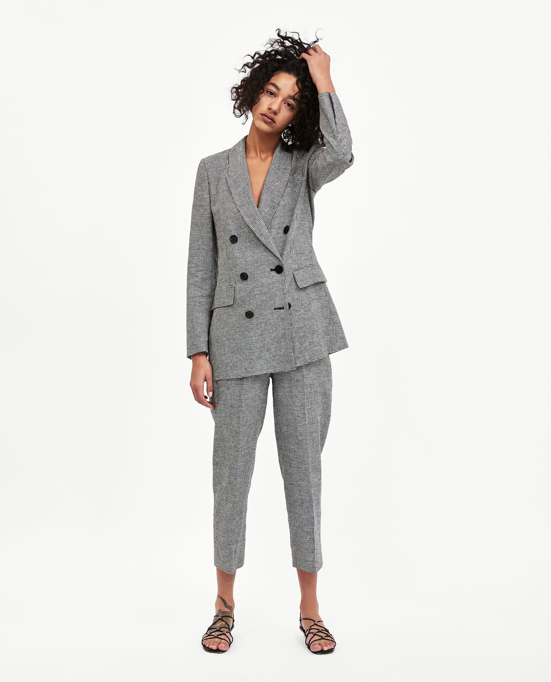 88ffa43873a Image 1 of DOUBLE BREASTED CHECKED BLAZER from Zara