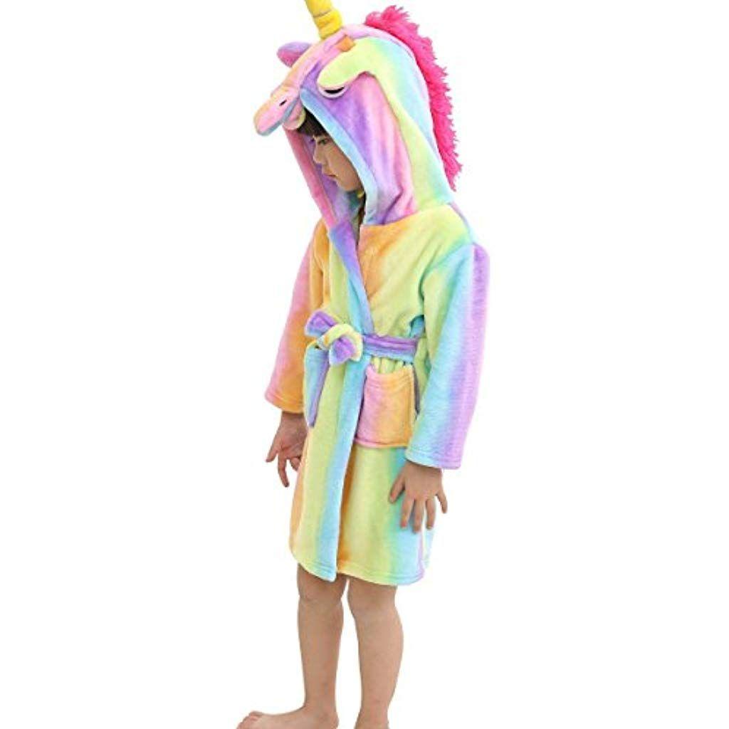 LANTOP Vestaglia Morbido per Bambini Comodamente Unicorno Flanella Unisex Regalo Pigiama Quattro Stagioni
