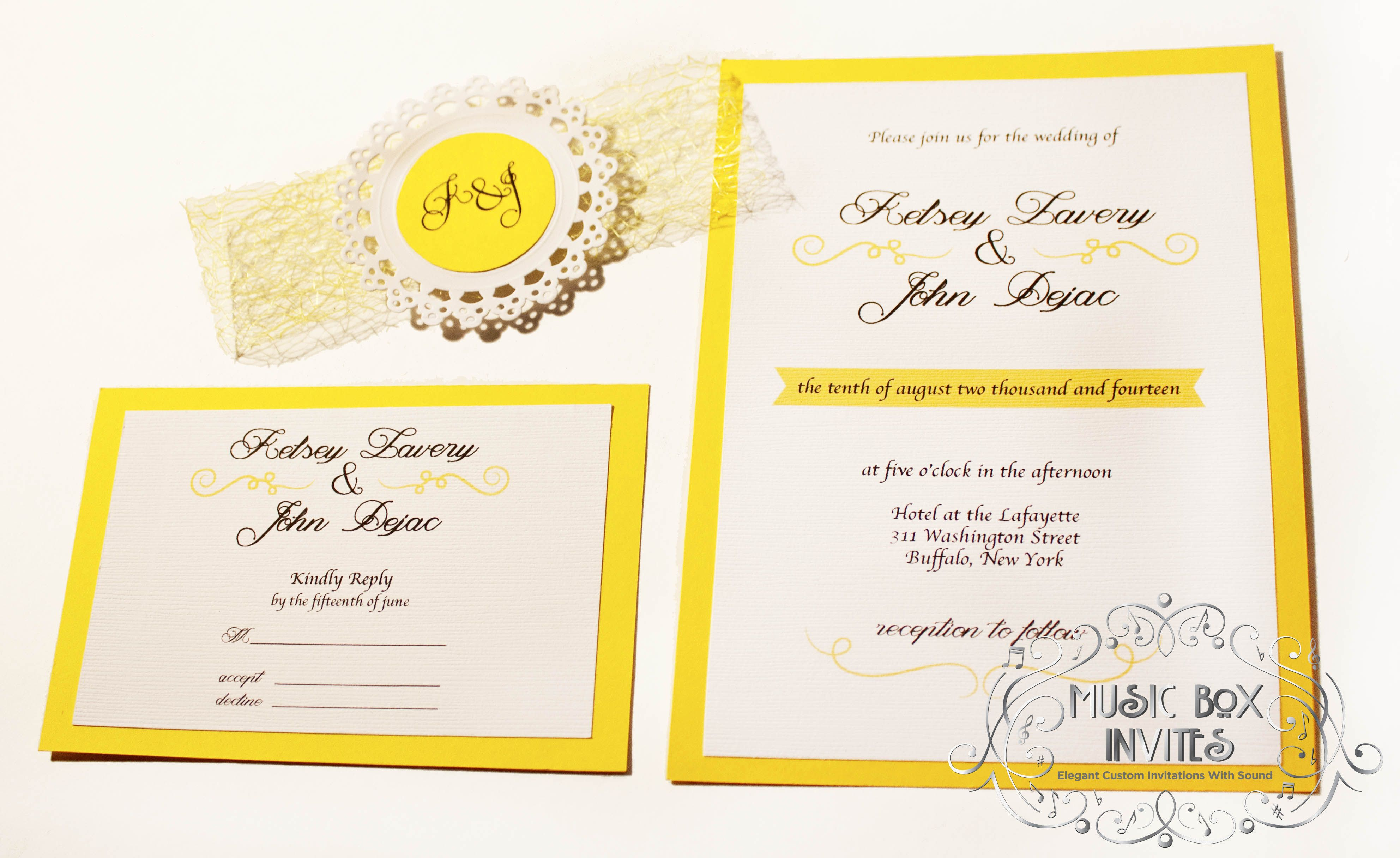 Spring Yellow and White Musical Wedding or Party Invitation in a box that plays music. Optional layers, custom to your liking. Stationery tr...