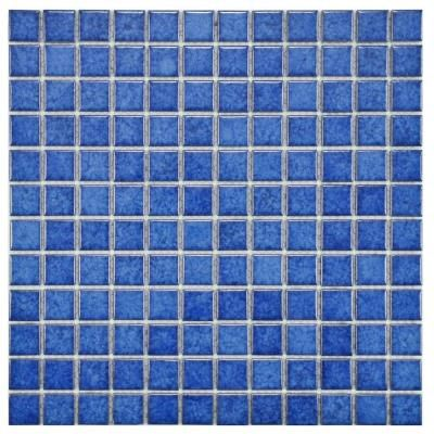 Merola Tile Lagoon Square Aral 11 3 4 In X 11 3 4 In X 6 Mm Porcelain Mosaic Tile Fyfl1sar Blue Mosaic Tile Mosaic Flooring Porcelain Mosaic Tile