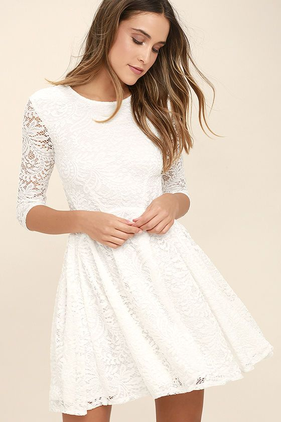 0426310a9000 The It's a New Day White Lace Skater Dress is here to bring some cheer to  your wardrobe! Lovely floral lace shapes a rounded neckline and sheer, ...