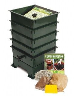 Worm Factory vermicomposting system 4 tray standard model. Available in black, green, and terracotta