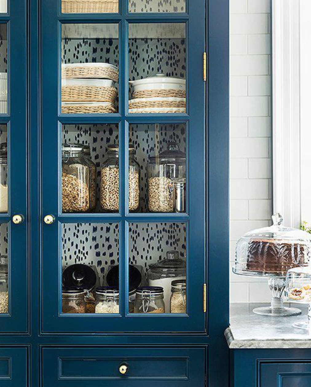 fabric lined pantry | Glass kitchen cabinets, Kitchen ...