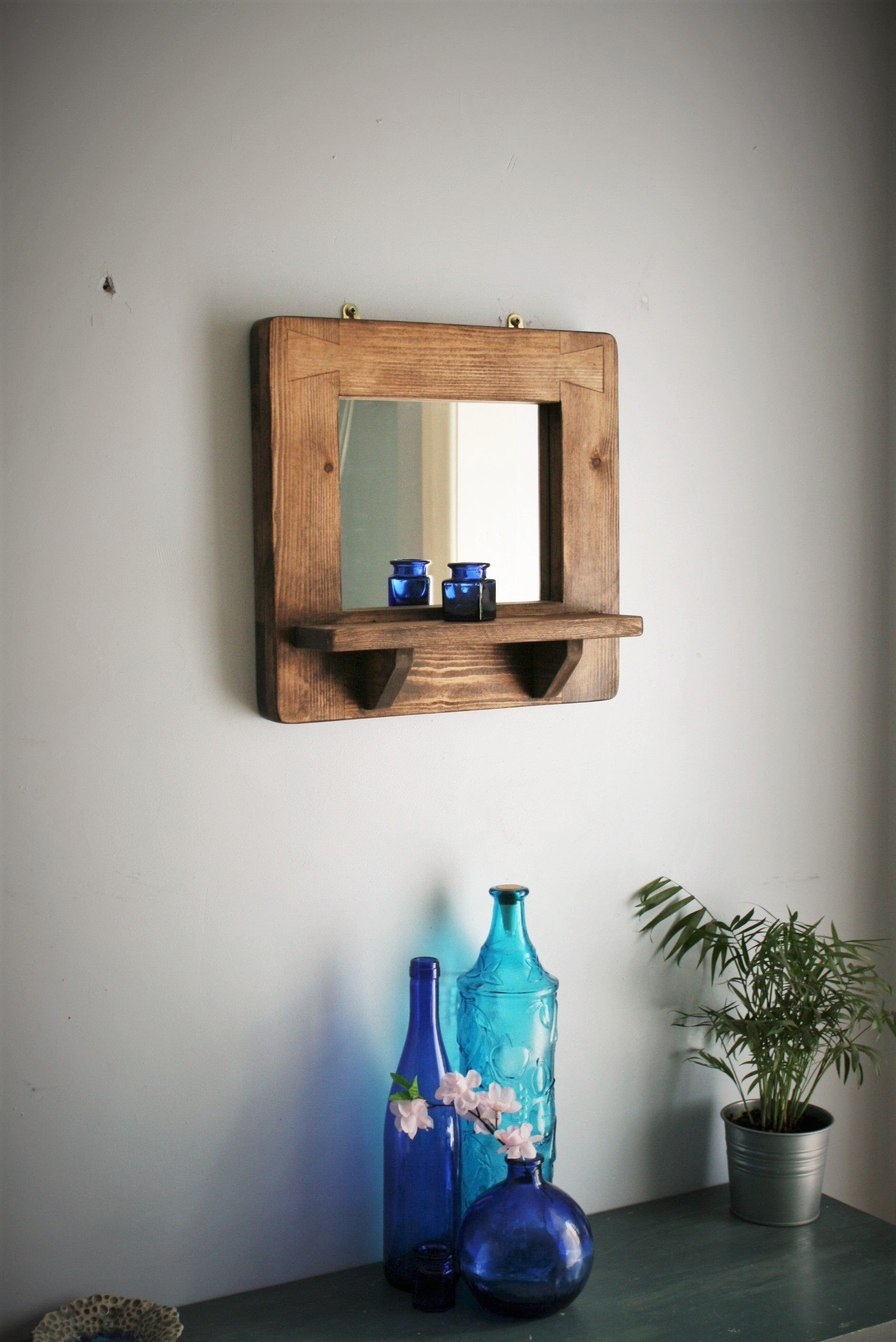 wood mirror with shelf, thick wide natural wood frame