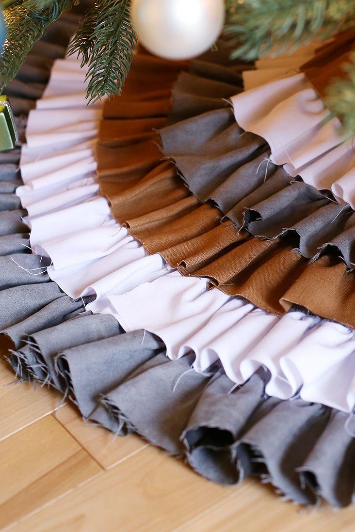 DIY No Sew Ruffled Tree Skirt (With images) | Ruffled tree ...