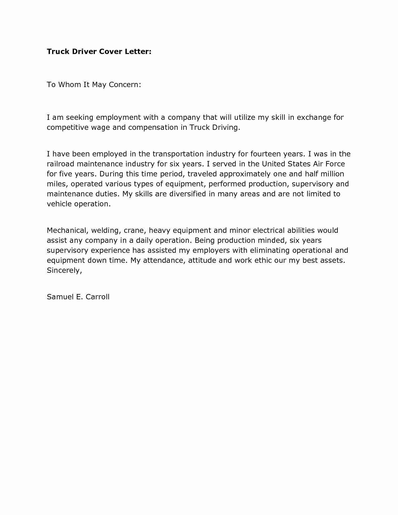 Truck Driver Resume Pdf Fresh Shuttle Driver Cover Letter