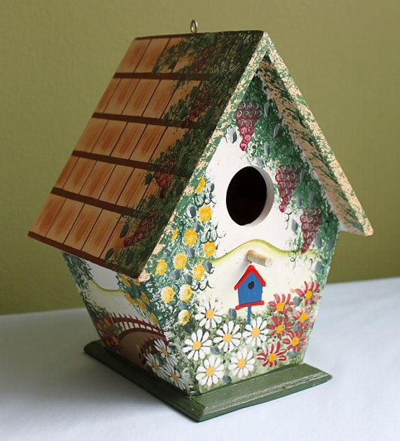 WhimsicalWoodenBirdHouses Wooden Bird House Hand Painted