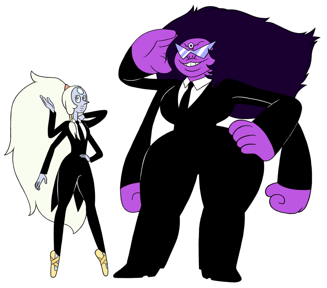 "OP: ""this started when i was like 'i bet garnet would look good in a tuxedo' and then it got wildly out of hand. (sugilite is the only one who is not size relative)"" 