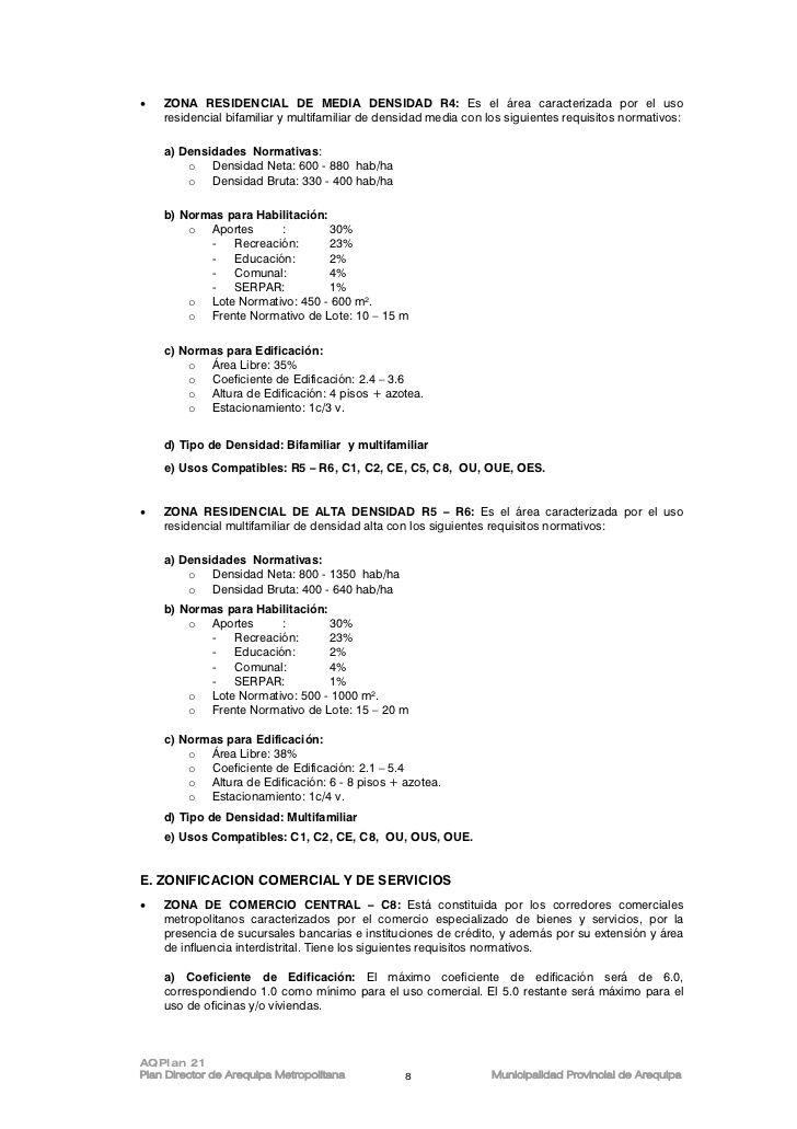 Plan Director De Zonificacin Urbana Arequipa  Importante