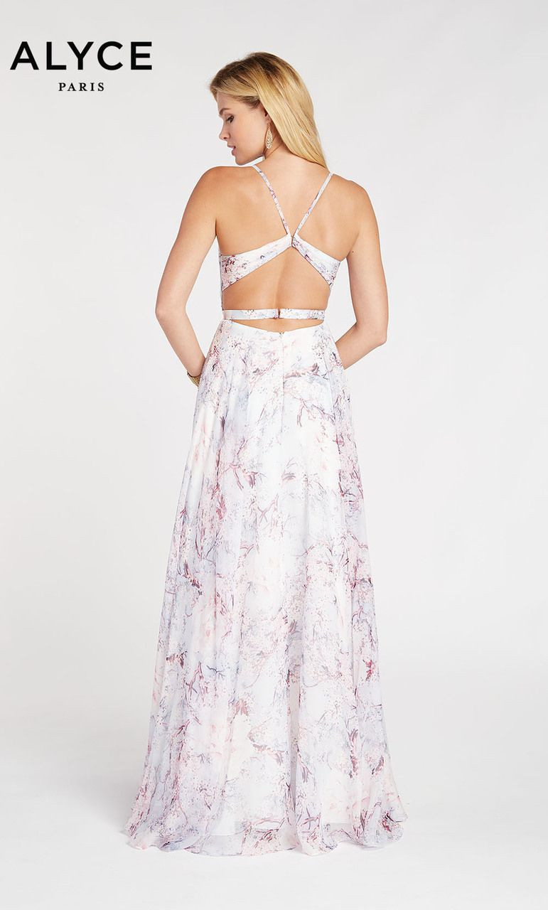 f99c1ce3dba Flowy chiffon print dress with draped top