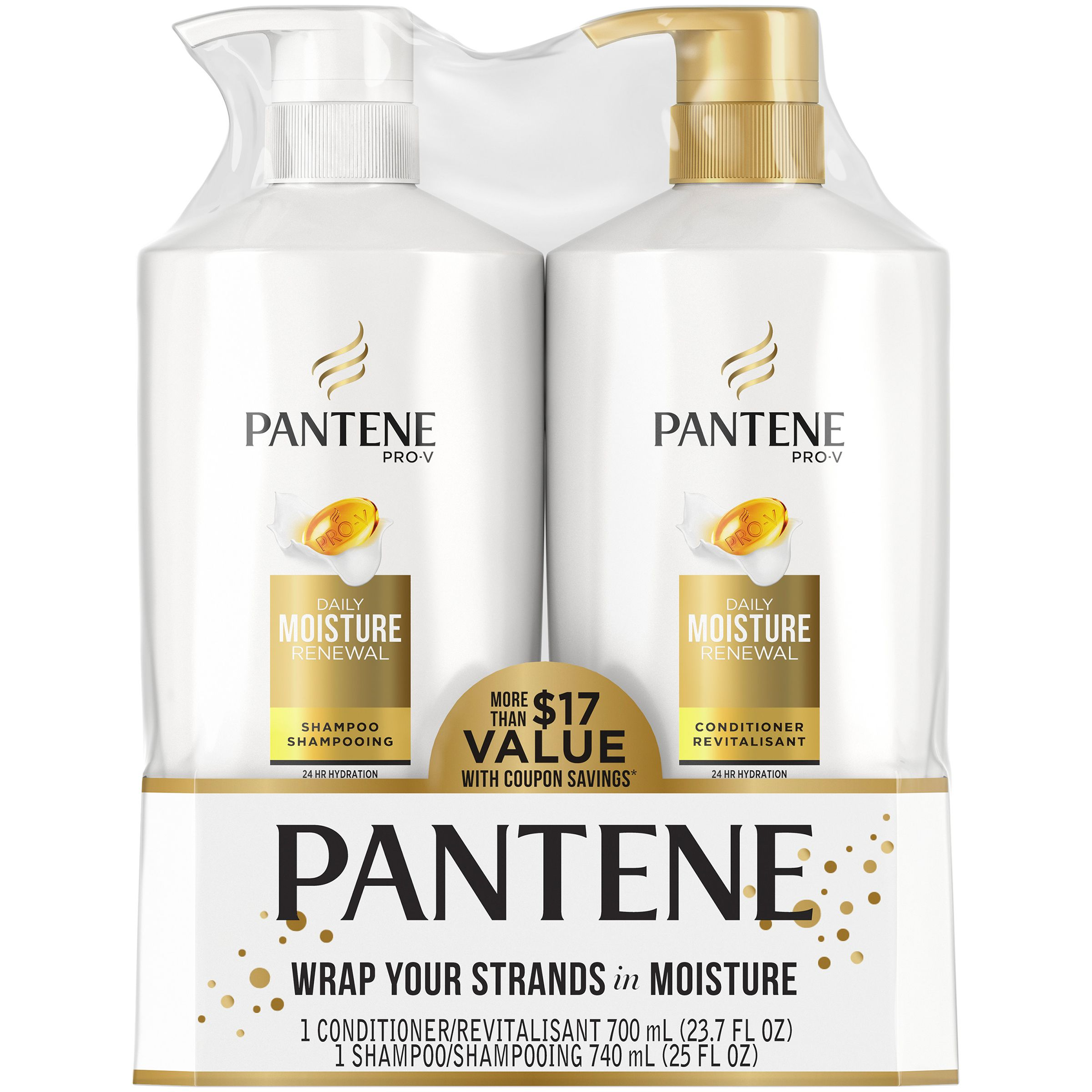 Pantene Pro V Daily Moisture Renewal Shampoo And Conditioner Dual Pack 48 7 Fl Oz 17 Value Walmart Com Shampoo Moisturizer Shampoo And Conditioner
