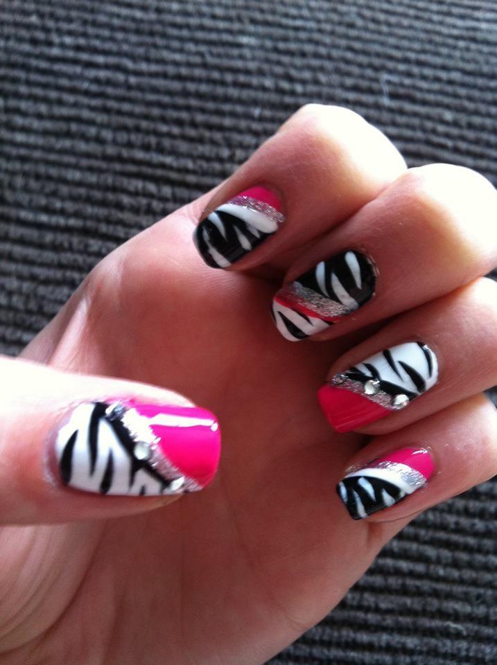 Pink Zebra Nails Nail Art Nail Design Nails Pinterest Pink