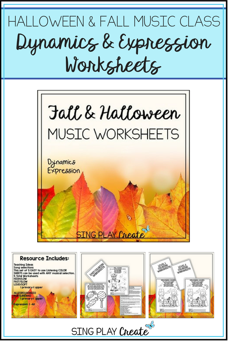 Halloween and Fall Music Class Dynamics & Expression Worksheets ...